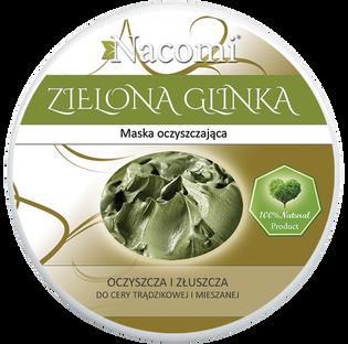 Nacomi_Zielona glinka_maska do twarzy lub ciała zielona glinka do skóry mieszanej, tłustej i trądzikowej, 138 g