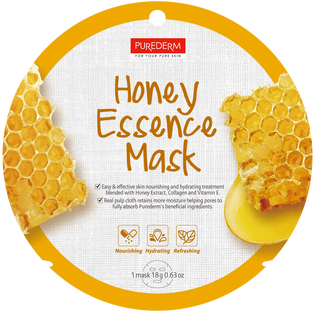 Purederm_Honey Essence_łagodząca-nawilżająca maseczka kolagenowa z miodem do twarzy, 1 szt.