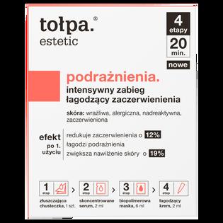 Tołpa_Estetic Podrażnienia_zestaw intensywny zabieg łagodzący zaczerwienienia: złuszczająca chusteczka, 1 szt. + skoncentrowane serum, 2 ml + biopolimerowa maska, 6 ml + łagodzący krem, 2 ml_1