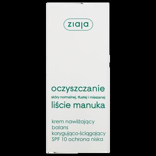 Ziaja_Oczyszczanie Liście Manuka_krem nawilżający do twarzy balans korygująco-ściągający SPF 10, 50 ml