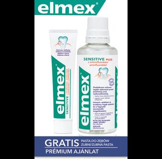 Elmex_Sensitive Plus_zestaw: płukanka do jamy ustnej, 400 ml + pasta do zębów, 75 ml