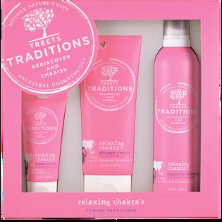 Treets Traditions_Relaxing Chakras_zestaw: krem do ciała, 50 ml + żel pod prysznic, 200 ml + pianka pod prysznic, 200 ml_1