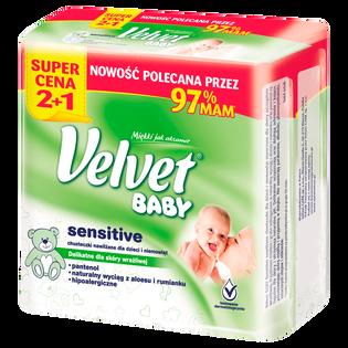 Velvet_Baby_chusteczki nawilżane dla dzieci i niemowląt, 3x64 szt./1 opak.
