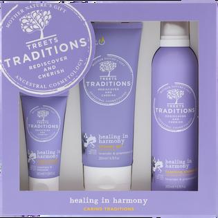 Treets Traditions_Healing in harmony_zestaw: lotion do ciała, 50 ml +  żel pod prysznic, 200 ml + pianka pod prysznic, 200 ml_1