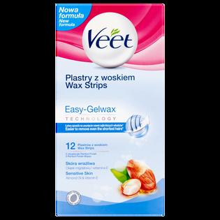 Veet_Easy-Gelwax Technology_plastry z woskiem do depilacji skóry wrażliwej, 12 szt./1 opak.
