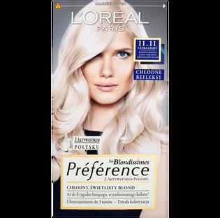 L'Oréal Paris_Préférence_farba do włosów 11.11 bardzo bardzo jasny chłodny kryształowy blond, 1 opak.