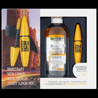 Maybelline_zestaw: Colossal tusz do rzęs black, 10,7 ml + Skin Natural płyn micelarny z olejkiem, 400 ml