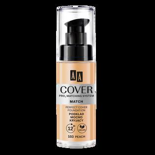 AA_Cover Match_mocno kryjący podkład do twarzy peach 103, 30 ml