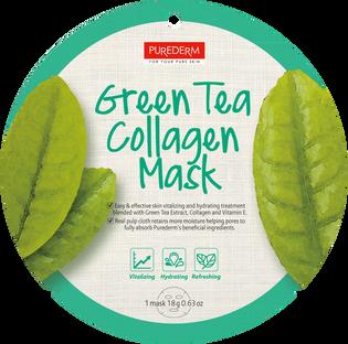 Purederm_Green Tea Collagen_ujędrniająco-nawilżająca maseczka kolagenowa z zieloną herbatą do twarzy, 1 szt.