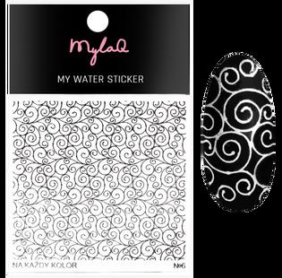 Mylaq_My Water Sticker_naklejki do zdobienia paznokci srebrne wzory 6, 1 opak.
