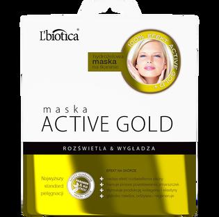L'Biotica_Active Gold_hydrożelowa maseczka rozświetlająca do twarzy, 25 g