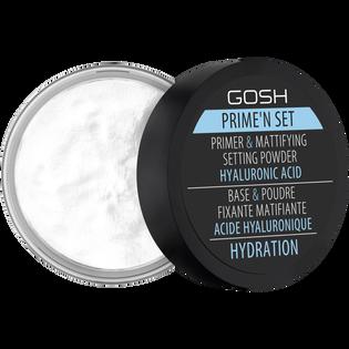 Gosh_Prime'n Set_utrwalająco-matujący puder-baza 3w1 z kwasem hialuronowym do twarzy, 7 g