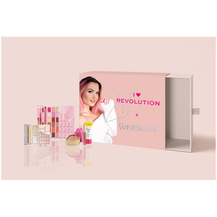 Revolution Makeup_by Wersow_zestaw: paleta cieni do powiek, 1 szt. + paleta rozświetlaczy, 1 szt., róż, 1 szt. + pomadka w płynie do ust nude, 1 szt. + baza rozświetlająca, 1 szt._1