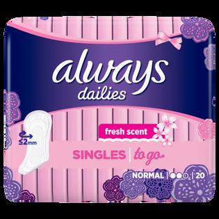 Always_Dailies Singles To Go_wkładki higieniczne, 20 szt./1 opak.